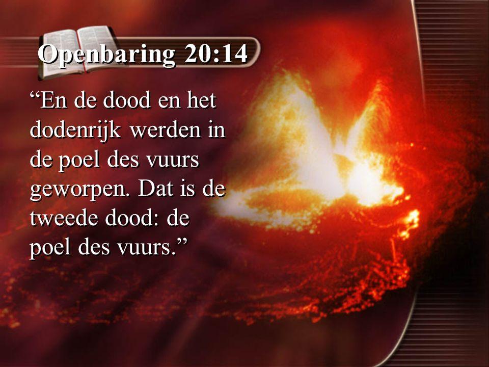 """Openbaring 20:14 """"En de dood en het dodenrijk werden in de poel des vuurs geworpen. Dat is de tweede dood: de poel des vuurs."""""""