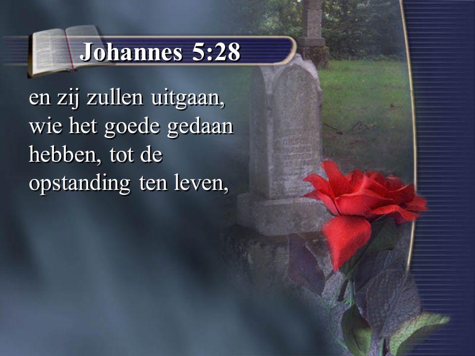 Johannes 5:28 en zij zullen uitgaan, wie het goede gedaan hebben, tot de opstanding ten leven,