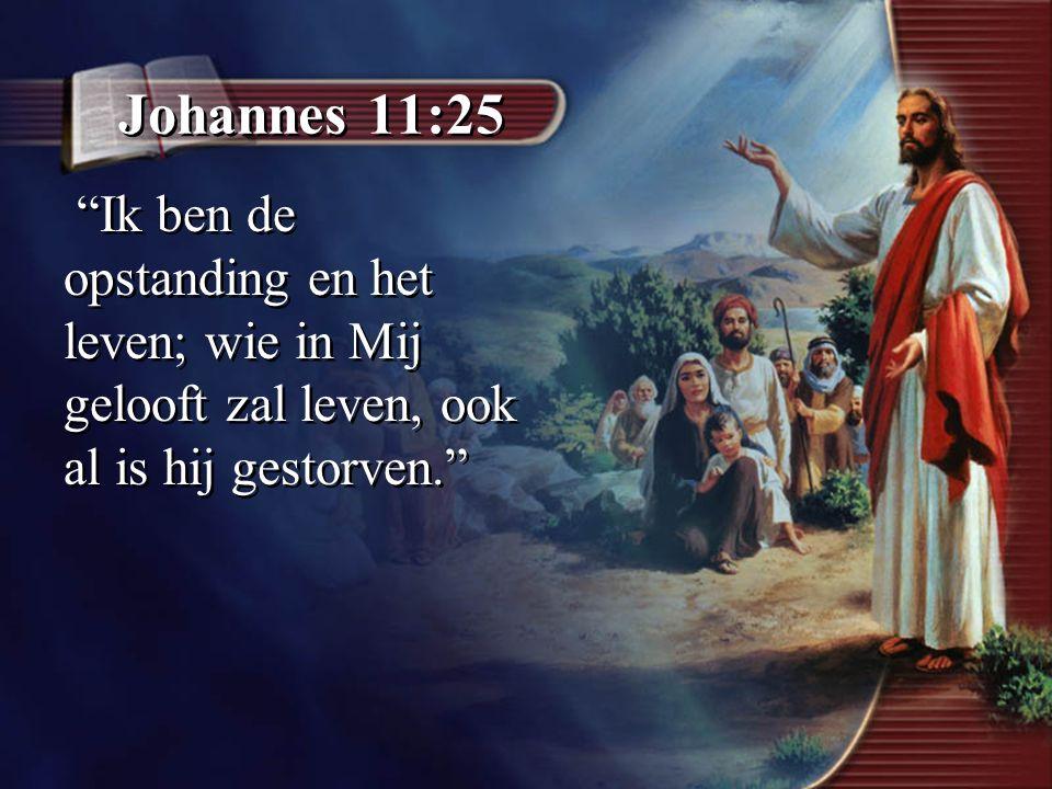 """Johannes 11:25 """"Ik ben de opstanding en het leven; wie in Mij gelooft zal leven, ook al is hij gestorven."""""""