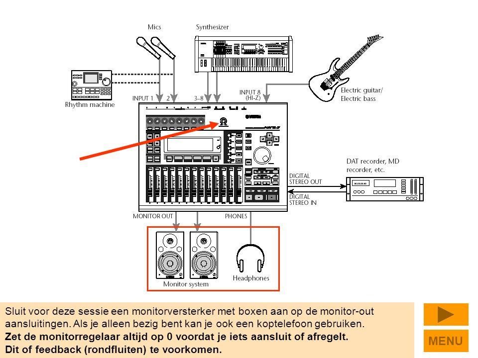 Sluit voor deze sessie een monitorversterker met boxen aan op de monitor-out aansluitingen.