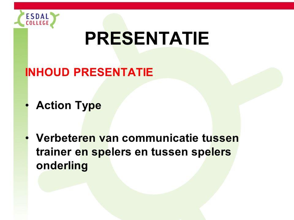 PRESENTATIE INHOUD PRESENTATIE Action Type Verbeteren van communicatie tussen trainer en spelers en tussen spelers onderling