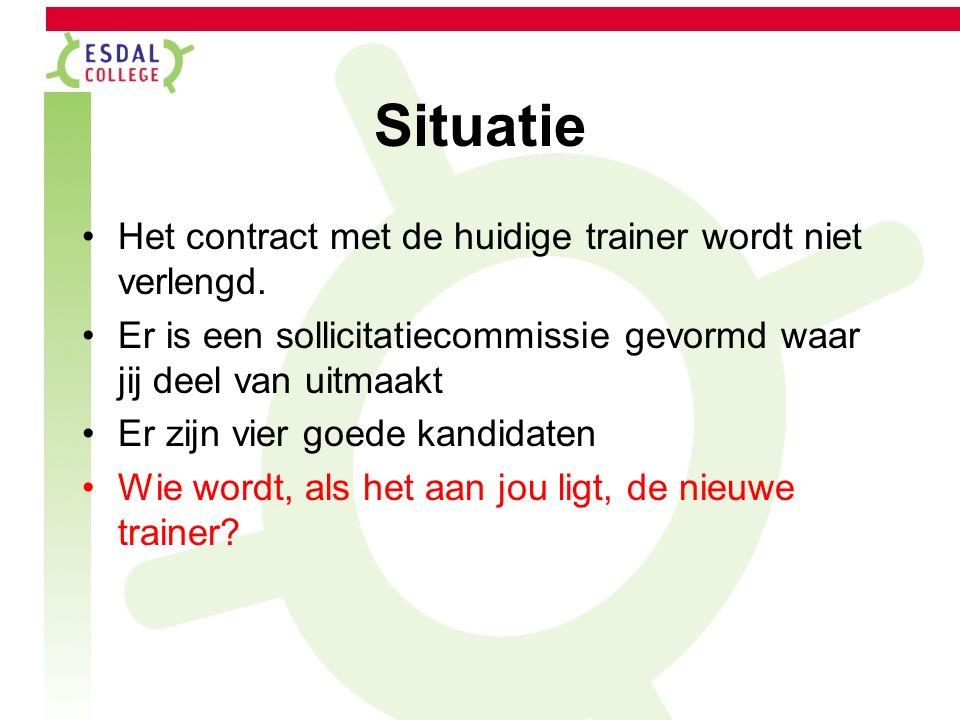Situatie Het contract met de huidige trainer wordt niet verlengd.