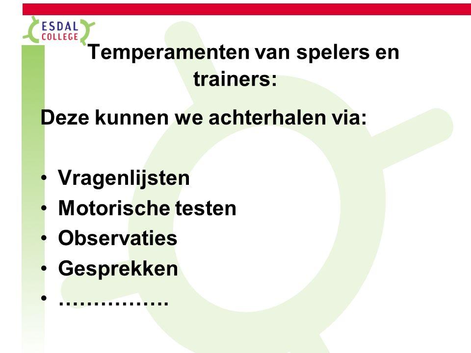 Temperamenten van spelers en trainers: Deze kunnen we achterhalen via: Vragenlijsten Motorische testen Observaties Gesprekken …………….
