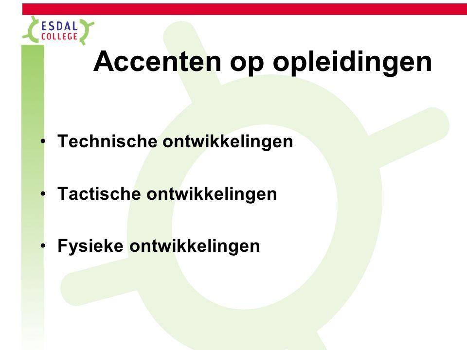 Accenten op opleidingen Technische ontwikkelingen Tactische ontwikkelingen Fysieke ontwikkelingen