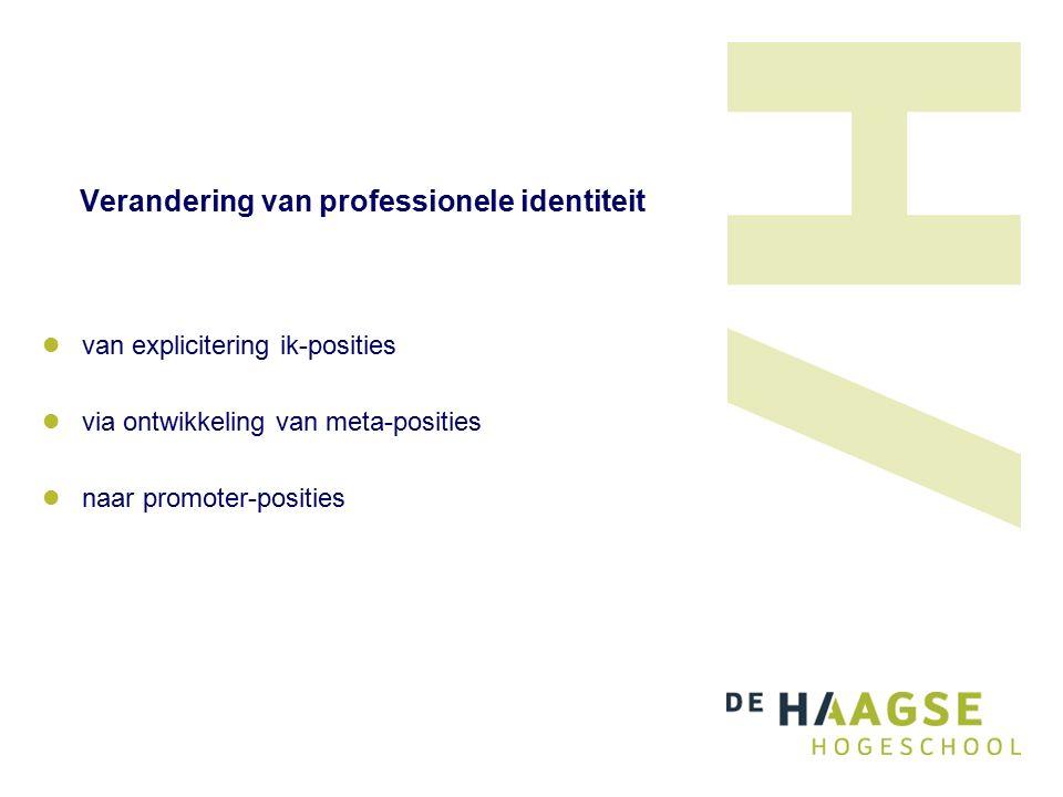 Verandering van professionele identiteit van explicitering ik-posities via ontwikkeling van meta-posities naar promoter-posities