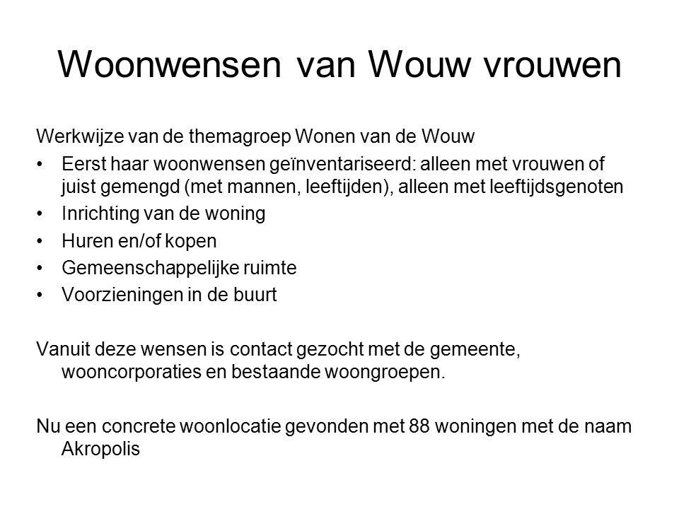 Woonwensen van Wouw vrouwen Werkwijze van de themagroep Wonen van de Wouw Eerst haar woonwensen geïnventariseerd: alleen met vrouwen of juist gemengd