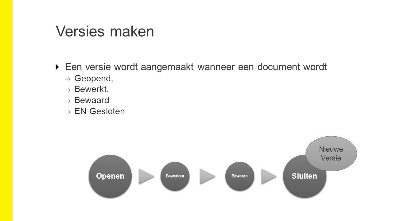 Versies maken Een versie wordt aangemaakt wanneer een document wordt Geopend, Bewerkt, Bewaard EN Gesloten Openen BewerkenBewaren Sluiten Nieuwe Versie