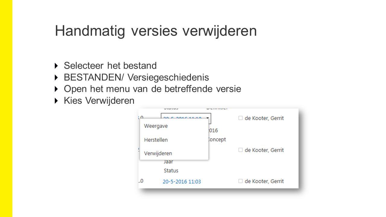 Handmatig versies verwijderen Selecteer het bestand BESTANDEN/ Versiegeschiedenis Open het menu van de betreffende versie Kies Verwijderen