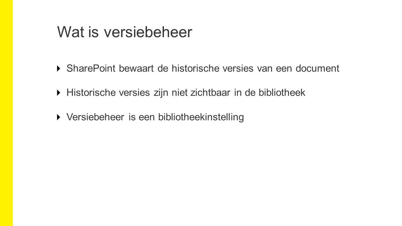 Wat is versiebeheer SharePoint bewaart de historische versies van een document Historische versies zijn niet zichtbaar in de bibliotheek Versiebeheer is een bibliotheekinstelling