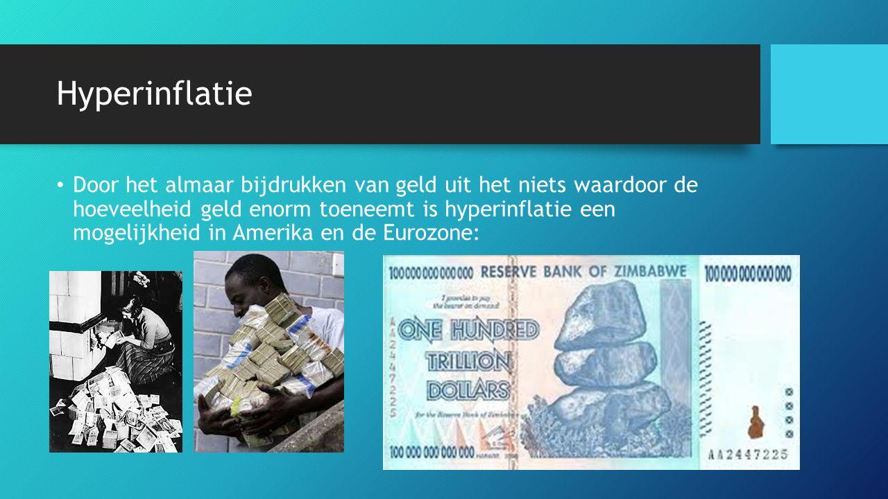 Hyperinflatie Door het almaar bijdrukken van geld uit het niets waardoor de hoeveelheid geld enorm toeneemt is hyperinflatie een mogelijkheid in Amerika en de Eurozone: