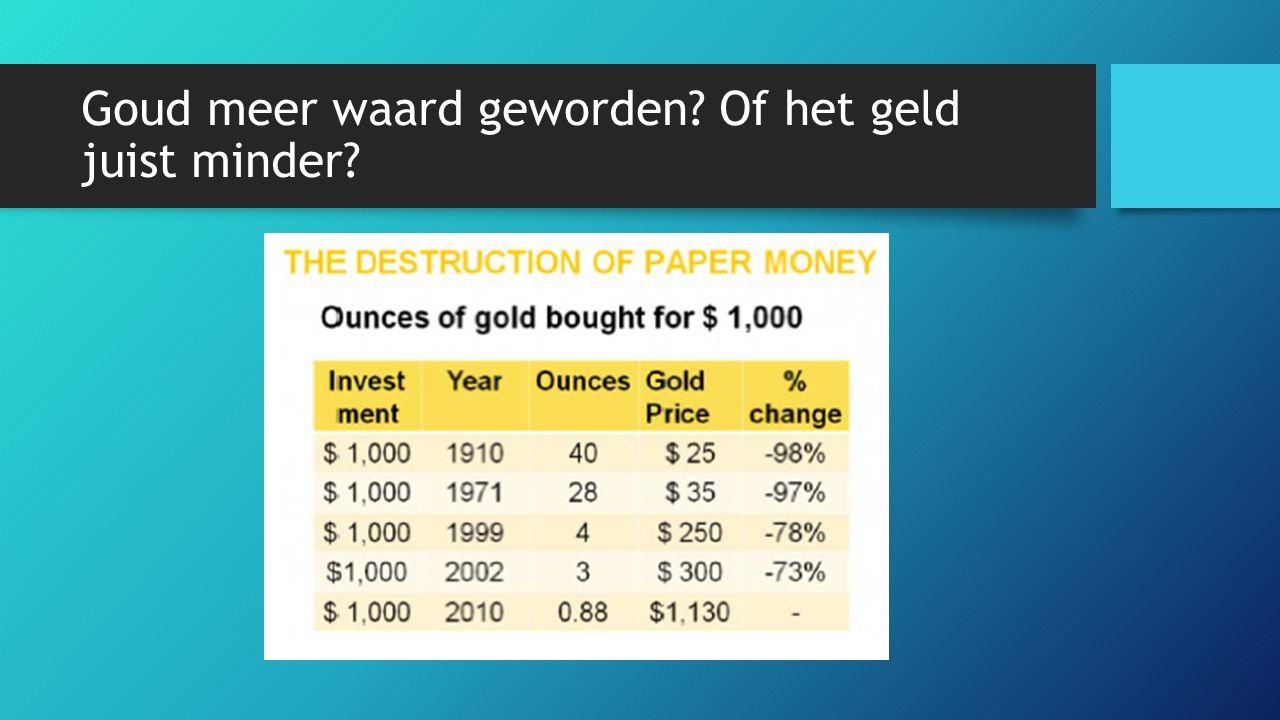 Goud meer waard geworden Of het geld juist minder