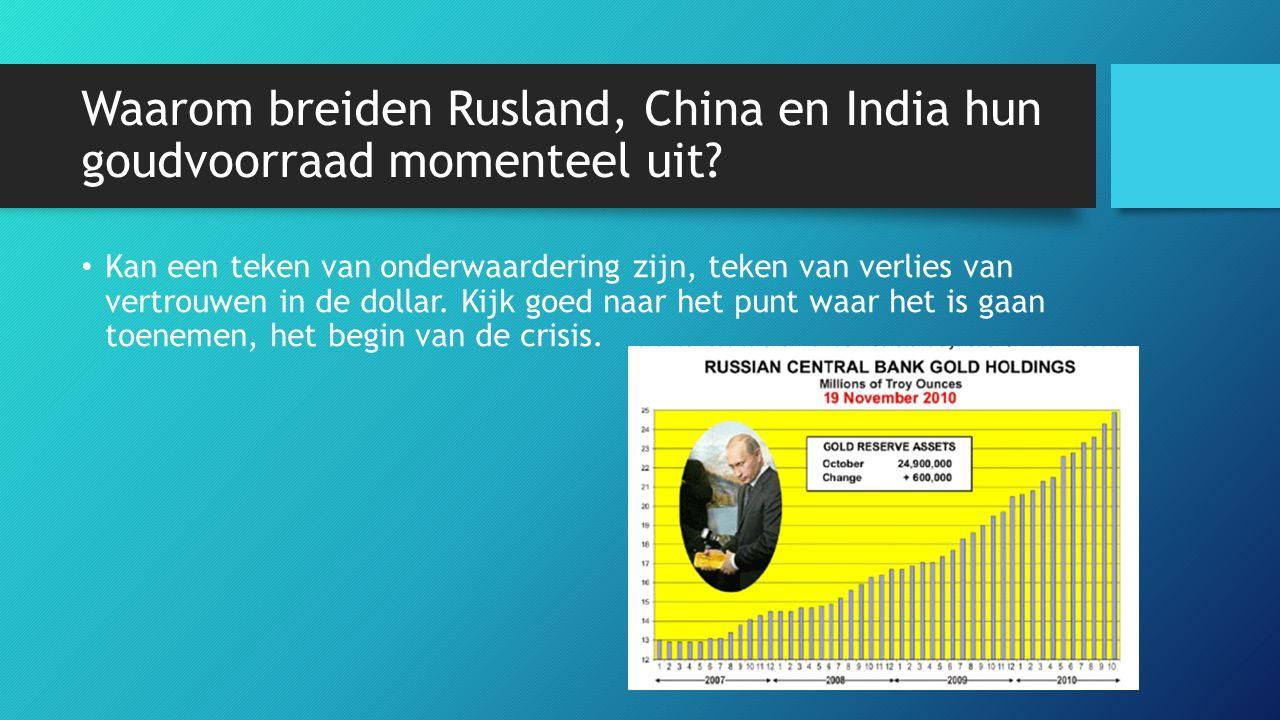 Waarom breiden Rusland, China en India hun goudvoorraad momenteel uit? Kan een teken van onderwaardering zijn, teken van verlies van vertrouwen in de