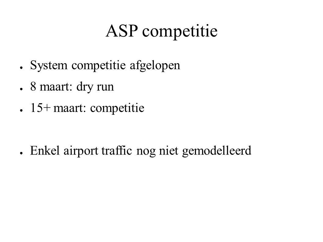 ASP competitie ● System competitie afgelopen ● 8 maart: dry run ● 15+ maart: competitie ● Enkel airport traffic nog niet gemodelleerd