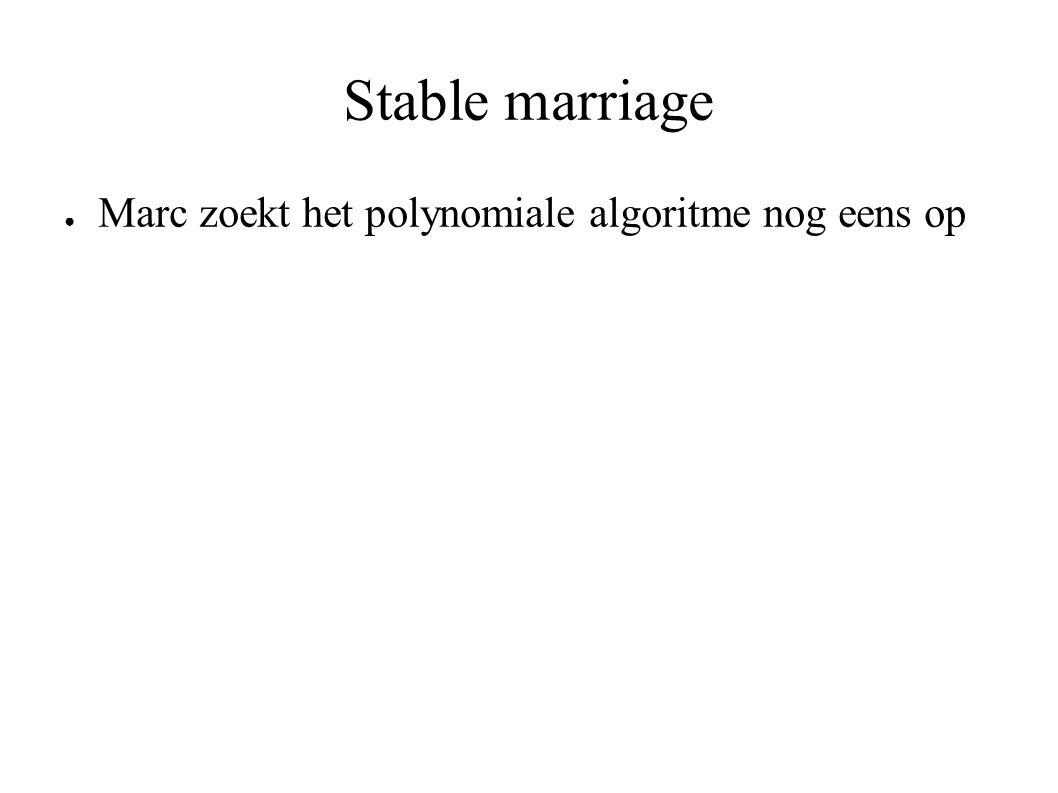 Stable marriage ● Marc zoekt het polynomiale algoritme nog eens op