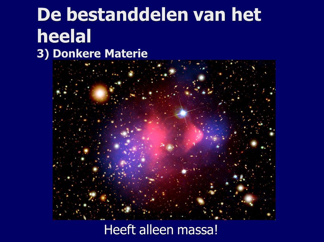 De bestanddelen van het heelal 3) Donkere Materie Heeft alleen massa!