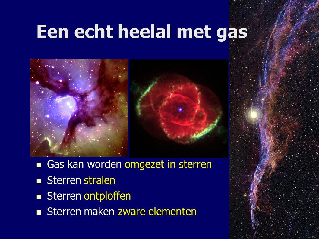 Een echt heelal met gas Gas kan worden omgezet in sterren Gas kan worden omgezet in sterren Sterren stralen Sterren stralen Sterren ontploffen Sterren ontploffen Sterren maken zware elementen Sterren maken zware elementen