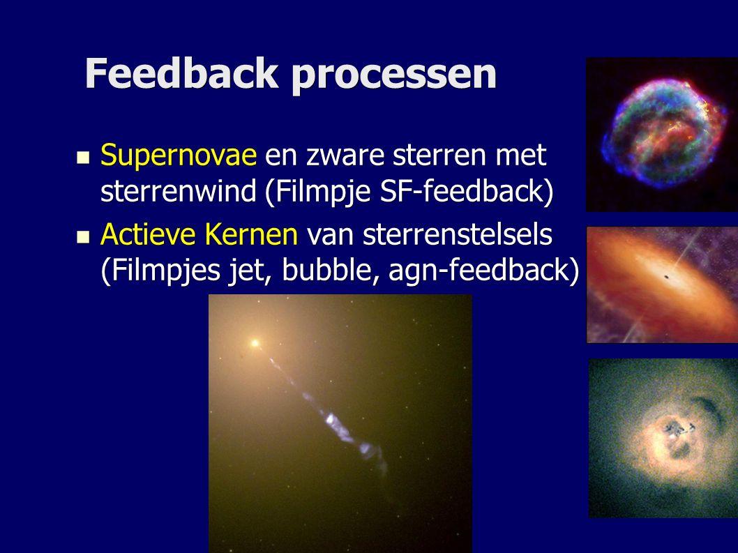 Feedback processen Supernovae en zware sterren met sterrenwind (Filmpje SF-feedback) Supernovae en zware sterren met sterrenwind (Filmpje SF-feedback) Actieve Kernen van sterrenstelsels (Filmpjes jet, bubble, agn-feedback) Actieve Kernen van sterrenstelsels (Filmpjes jet, bubble, agn-feedback)