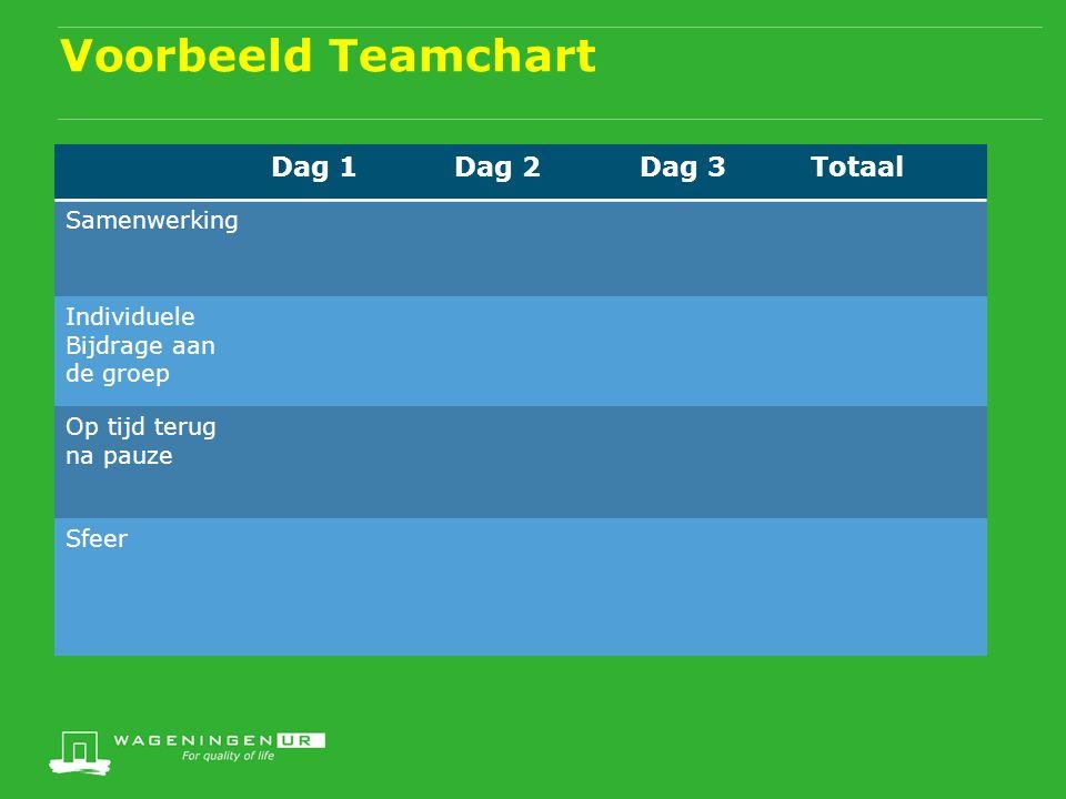 Voorbeeld Teamchart Dag 1Dag 2Dag 3Totaal Samenwerking Individuele Bijdrage aan de groep Op tijd terug na pauze Sfeer