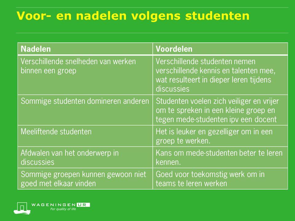 Voor- en nadelen volgens studenten