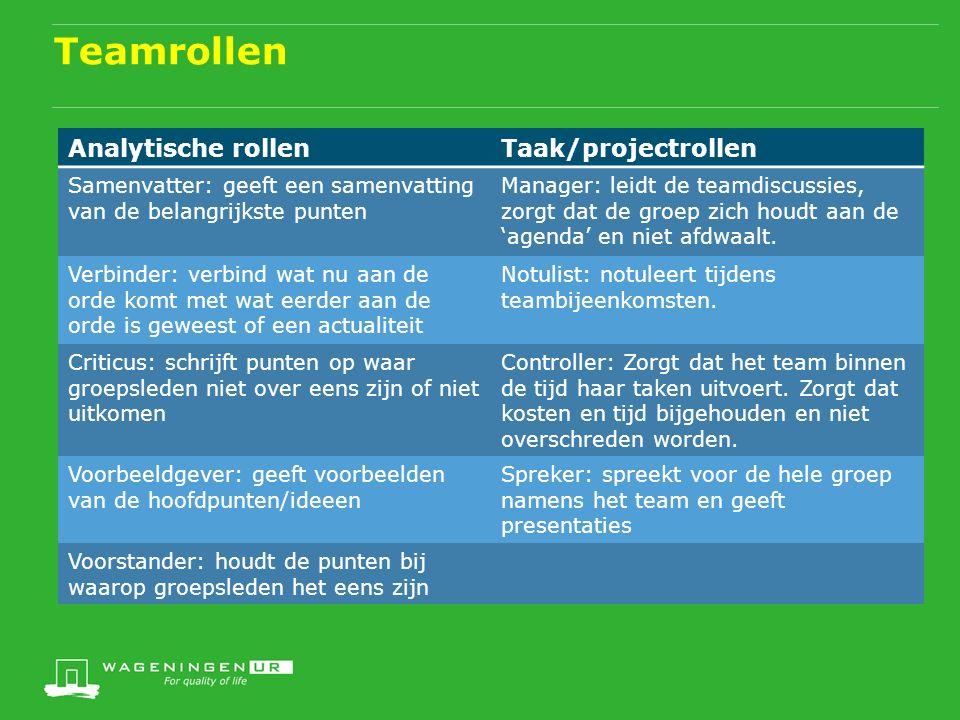 Teamrollen Analytische rollenTaak/projectrollen Samenvatter: geeft een samenvatting van de belangrijkste punten Manager: leidt de teamdiscussies, zorgt dat de groep zich houdt aan de 'agenda' en niet afdwaalt.