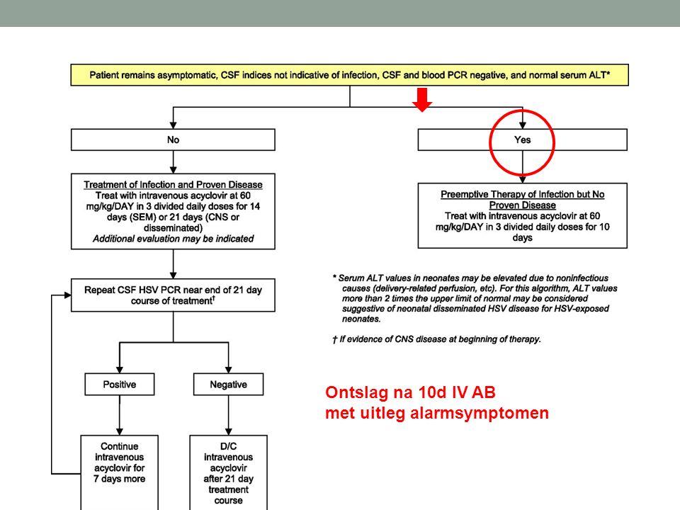 Ontslag na 10d IV AB met uitleg alarmsymptomen
