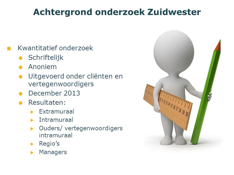 Kwantitatief onderzoek  Schriftelijk  Anoniem  Uitgevoerd onder cliënten en vertegenwoordigers  December 2013  Resultaten:  Extramuraal  Intram