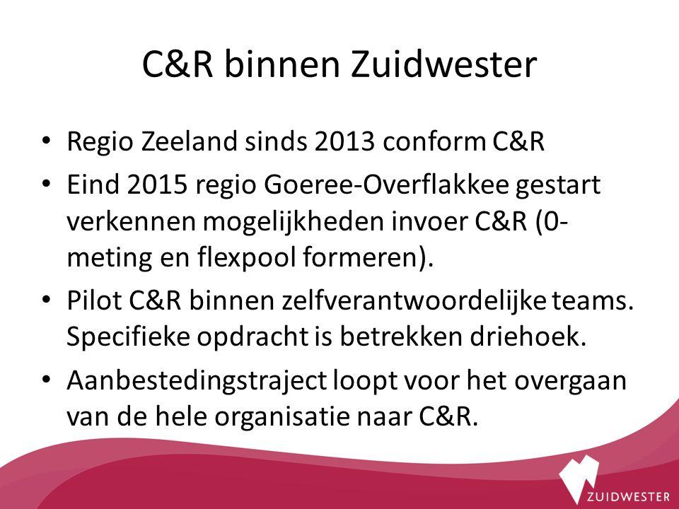 C&R binnen Zuidwester Regio Zeeland sinds 2013 conform C&R Eind 2015 regio Goeree-Overflakkee gestart verkennen mogelijkheden invoer C&R (0- meting en flexpool formeren).