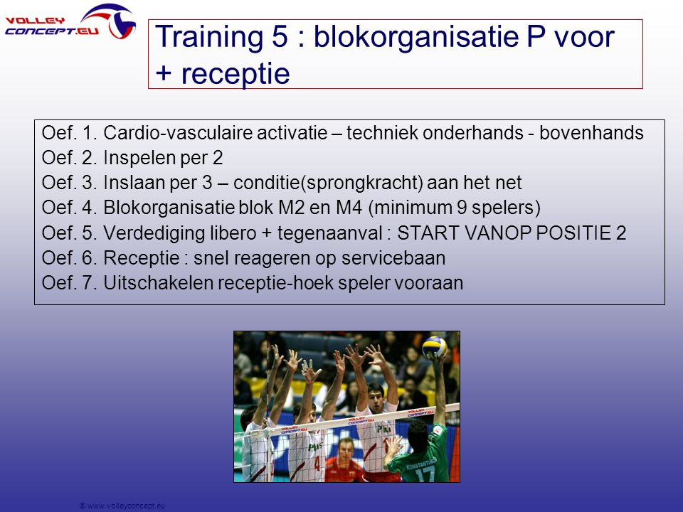 © www.volleyconcept.eu Oef. 1. Cardio-vasculaire activatie – techniek onderhands - bovenhands Oef.