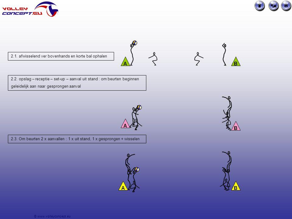 © www.volleyconcept.eu Oef. 3. Inslaan per 3 : conditie (sprongkracht) aan het net