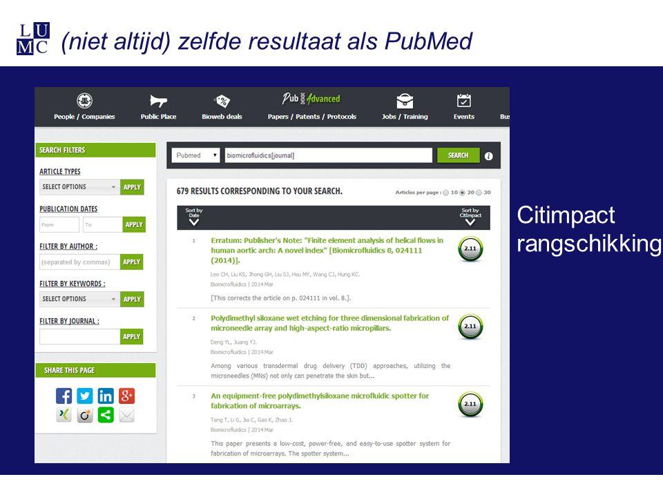 (niet altijd) zelfde resultaat als PubMed Citimpact rangschikking