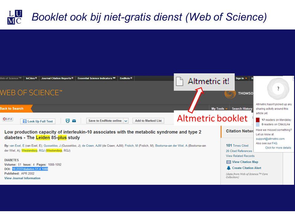 Booklet ook bij niet-gratis dienst (Web of Science)