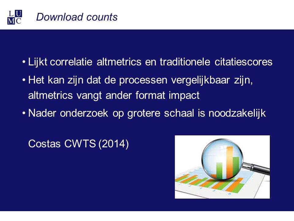 Download counts Lijkt correlatie altmetrics en traditionele citatiescores Het kan zijn dat de processen vergelijkbaar zijn, altmetrics vangt ander format impact Nader onderzoek op grotere schaal is noodzakelijk Costas CWTS (2014)