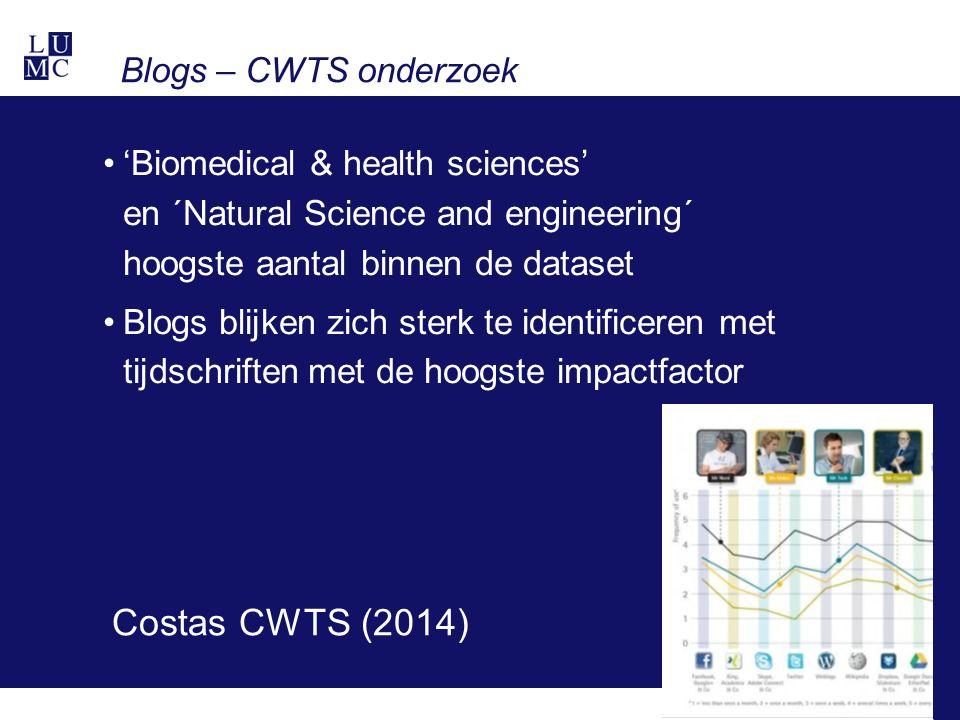 Blogs – CWTS onderzoek 'Biomedical & health sciences' en ´Natural Science and engineering´ hoogste aantal binnen de dataset Blogs blijken zich sterk te identificeren met tijdschriften met de hoogste impactfactor Costas CWTS (2014)