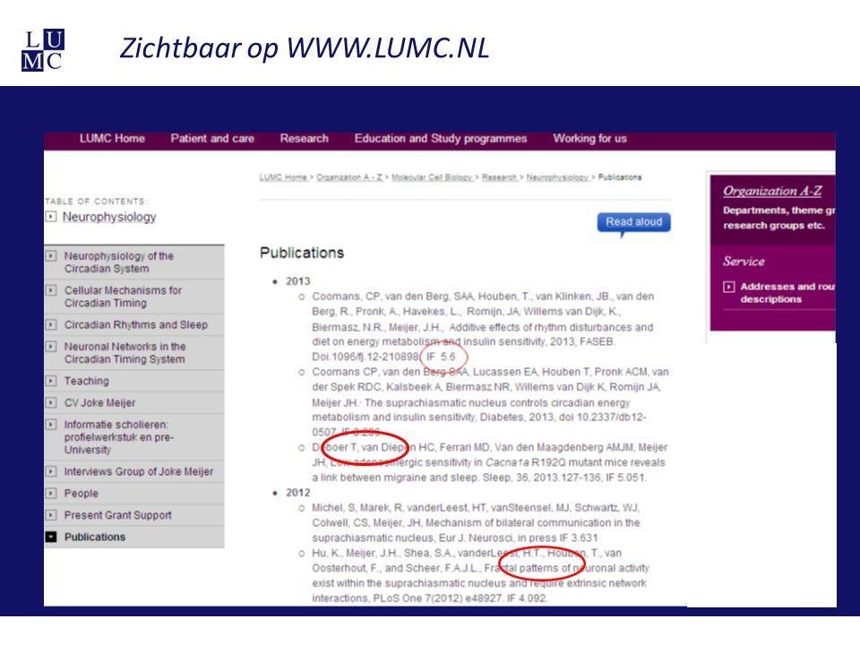 Zichtbaar op WWW.LUMC.NL