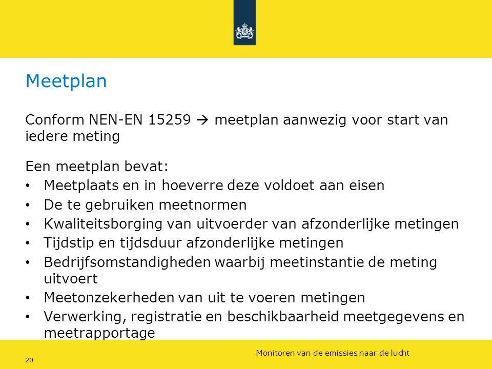 Rijkswaterstaat (InfoMil) 20Ozon en F-gassen regelgeving Rijkswaterstaat (InfoMil) Toezicht lucht in het Activiteitenbesluit Meetplan Conform NEN-EN 1