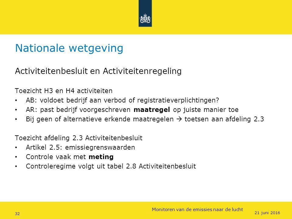 Rijkswaterstaat (InfoMil) 32Ozon en F-gassen regelgeving Rijkswaterstaat (InfoMil) Toezicht lucht in het Activiteitenbesluit Nationale wetgeving Activ