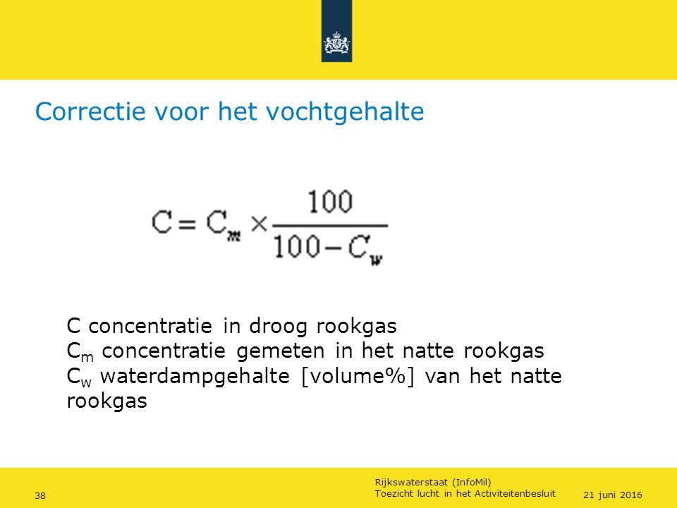 Rijkswaterstaat (InfoMil) 38Ozon en F-gassen regelgeving Rijkswaterstaat (InfoMil) Toezicht lucht in het Activiteitenbesluit Correctie voor het vochtg