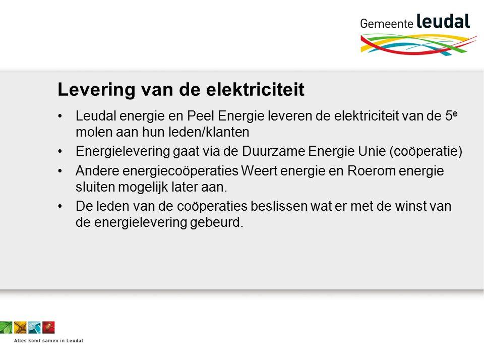 Levering van de elektriciteit Leudal energie en Peel Energie leveren de elektriciteit van de 5 e molen aan hun leden/klanten Energielevering gaat via de Duurzame Energie Unie (coöperatie) Andere energiecoöperaties Weert energie en Roerom energie sluiten mogelijk later aan.