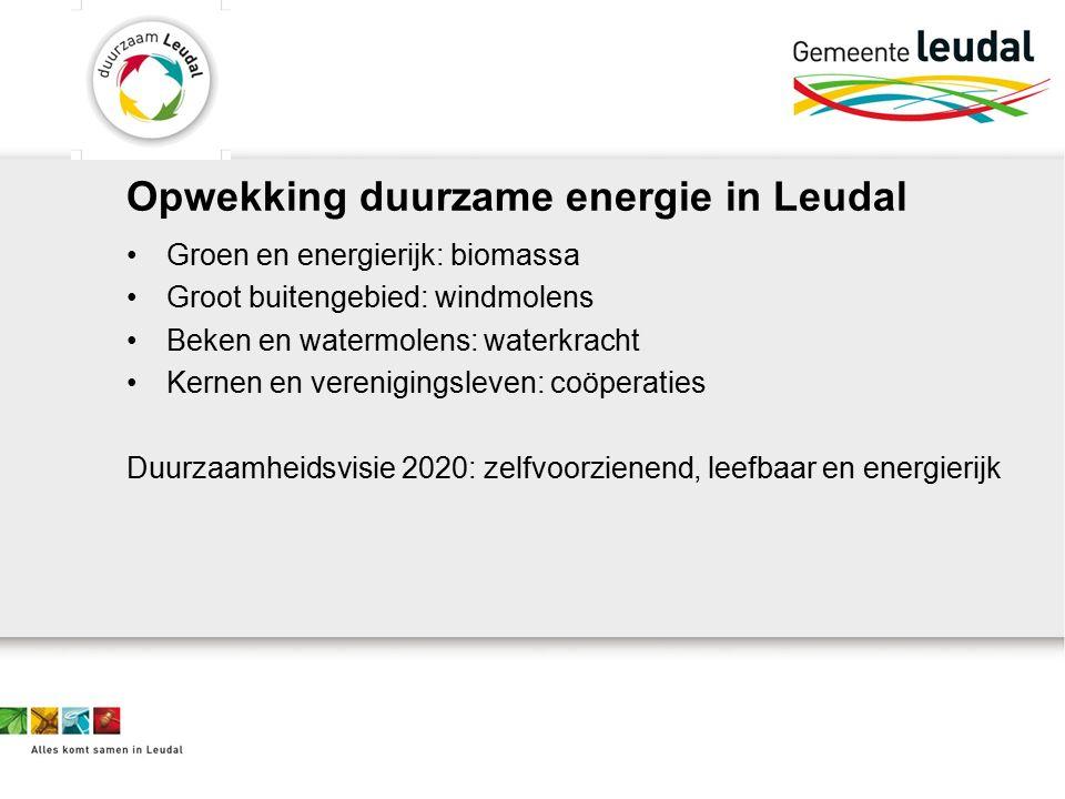 Opwekking duurzame energie in Leudal Groen en energierijk: biomassa Groot buitengebied: windmolens Beken en watermolens: waterkracht Kernen en verenigingsleven: coöperaties Duurzaamheidsvisie 2020: zelfvoorzienend, leefbaar en energierijk