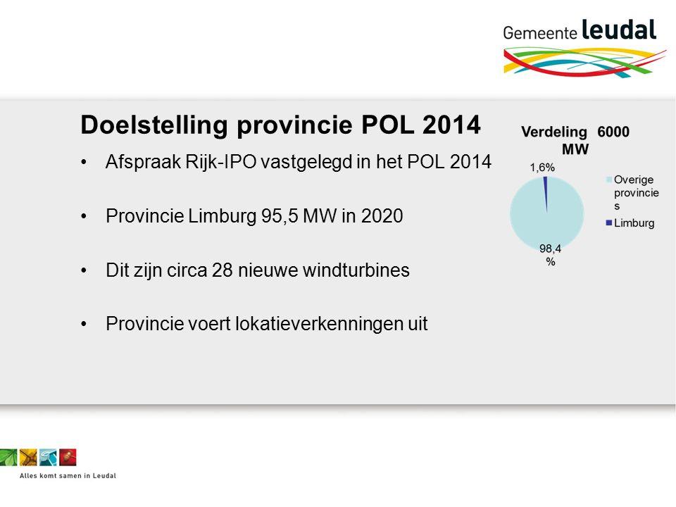 Doelstelling provincie POL 2014 Afspraak Rijk-IPO vastgelegd in het POL 2014 Provincie Limburg 95,5 MW in 2020 Dit zijn circa 28 nieuwe windturbines Provincie voert lokatieverkenningen uit