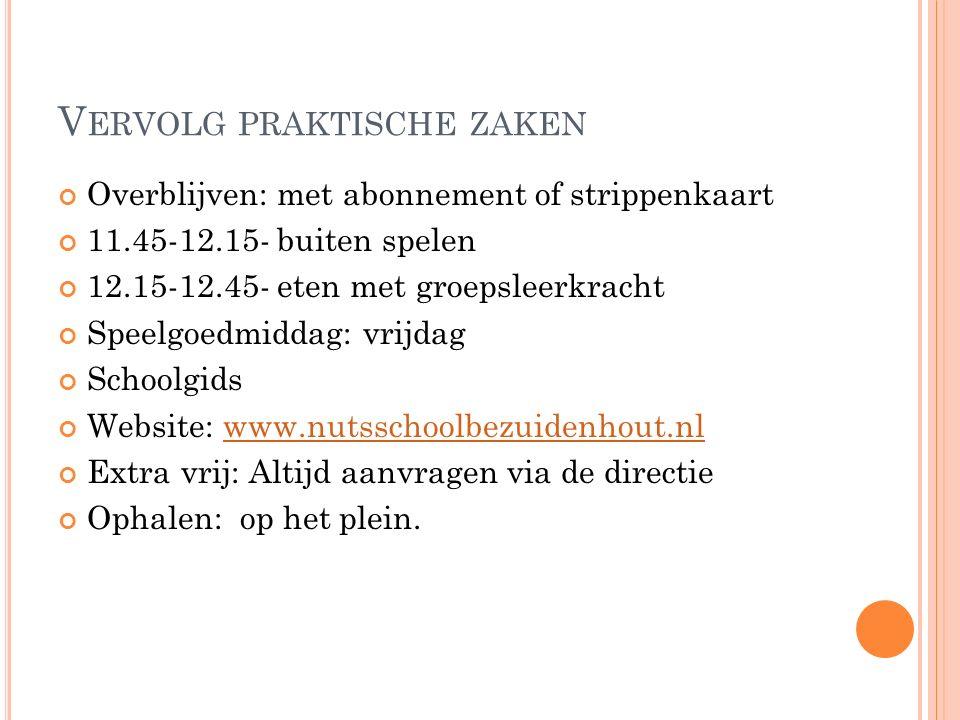 V ERVOLG PRAKTISCHE ZAKEN Overblijven: met abonnement of strippenkaart 11.45-12.15- buiten spelen 12.15-12.45- eten met groepsleerkracht Speelgoedmiddag: vrijdag Schoolgids Website: www.nutsschoolbezuidenhout.nlwww.nutsschoolbezuidenhout.nl Extra vrij: Altijd aanvragen via de directie Ophalen: op het plein.
