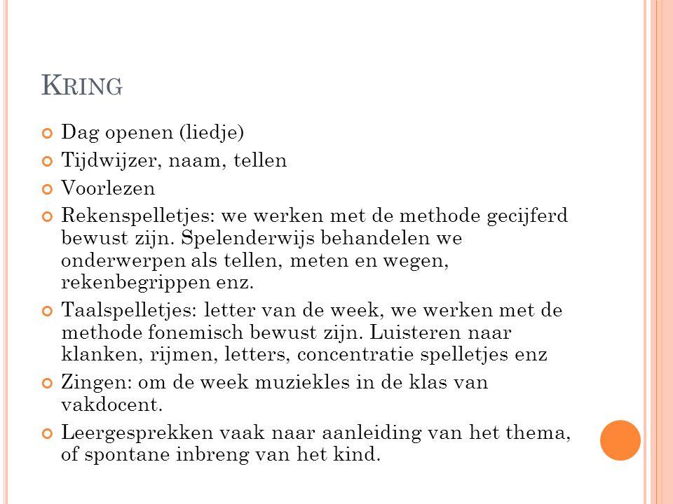 K RING Dag openen (liedje) Tijdwijzer, naam, tellen Voorlezen Rekenspelletjes: we werken met de methode gecijferd bewust zijn.
