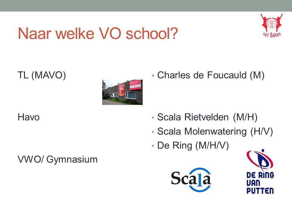 Naar welke VO school? TL (MAVO) Havo VWO/ Gymnasium Charles de Foucauld (M) Scala Rietvelden (M/H) Scala Molenwatering (H/V) De Ring (M/H/V)