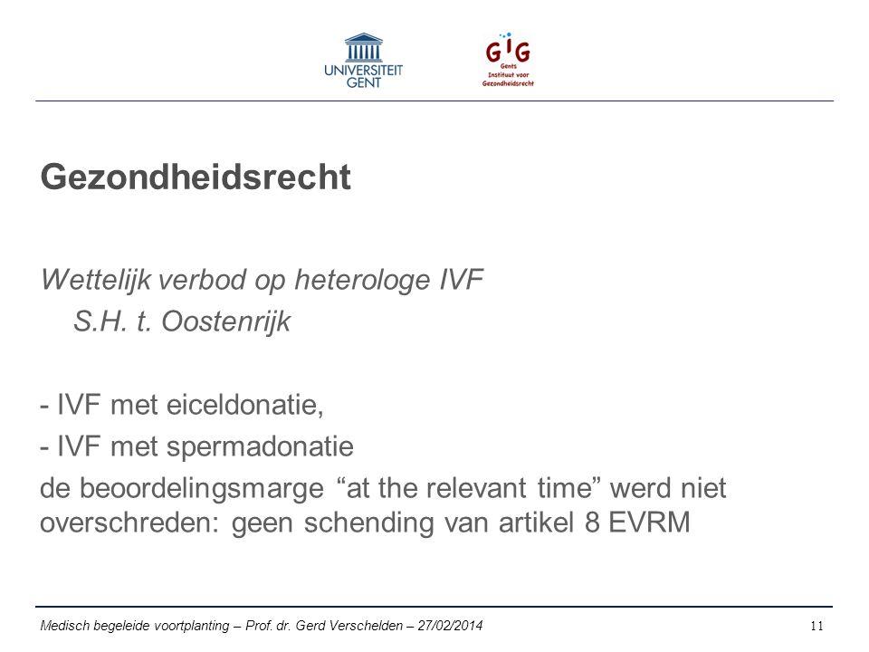 Gezondheidsrecht Wettelijk verbod op heterologe IVF S.H.
