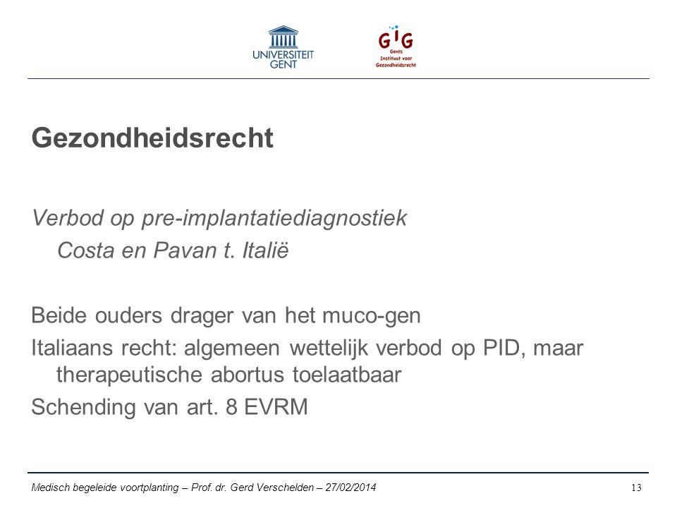 Gezondheidsrecht Verbod op pre-implantatiediagnostiek Costa en Pavan t.