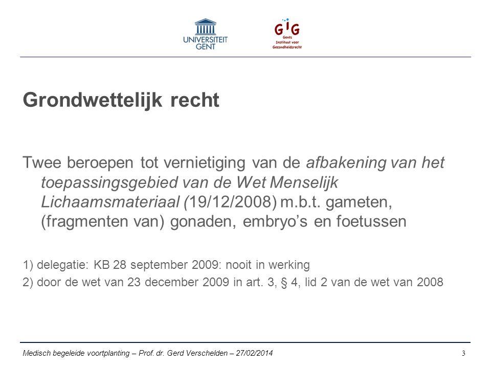 Grondwettelijk recht Twee beroepen tot vernietiging van de afbakening van het toepassingsgebied van de Wet Menselijk Lichaamsmateriaal (19/12/2008) m.b.t.