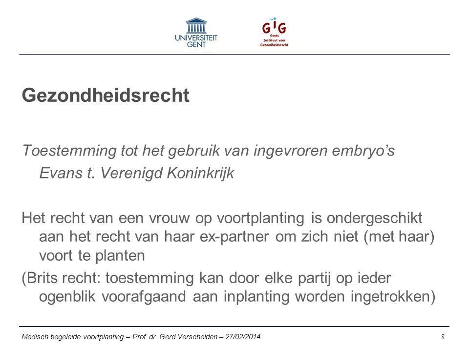 Gezondheidsrecht Toestemming tot het gebruik van ingevroren embryo's Evans t.