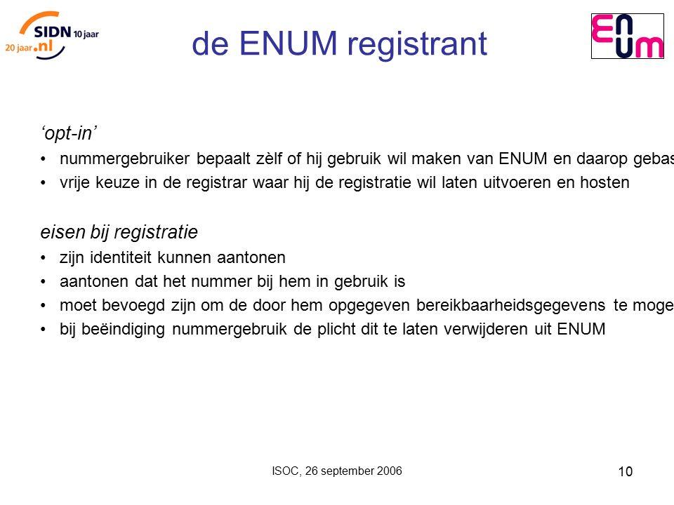 ISOC, 26 september 2006 10 de ENUM registrant 'opt-in' nummergebruiker bepaalt zèlf of hij gebruik wil maken van ENUM en daarop gebaseerde diensten vrije keuze in de registrar waar hij de registratie wil laten uitvoeren en hosten eisen bij registratie zijn identiteit kunnen aantonen aantonen dat het nummer bij hem in gebruik is moet bevoegd zijn om de door hem opgegeven bereikbaarheidsgegevens te mogen gebruiken (geen gegevens van anderen in eigen 'NAPTR records') bij beëindiging nummergebruik de plicht dit te laten verwijderen uit ENUM