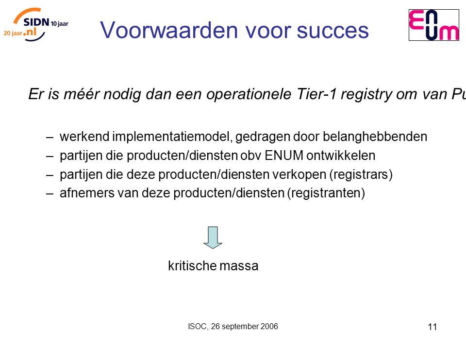 ISOC, 26 september 2006 11 Voorwaarden voor succes Er is méér nodig dan een operationele Tier-1 registry om van Public User ENUM een succes te maken: – werkend implementatiemodel, gedragen door belanghebbenden – partijen die producten/diensten obv ENUM ontwikkelen – partijen die deze producten/diensten verkopen (registrars) – afnemers van deze producten/diensten (registranten) kritische massa