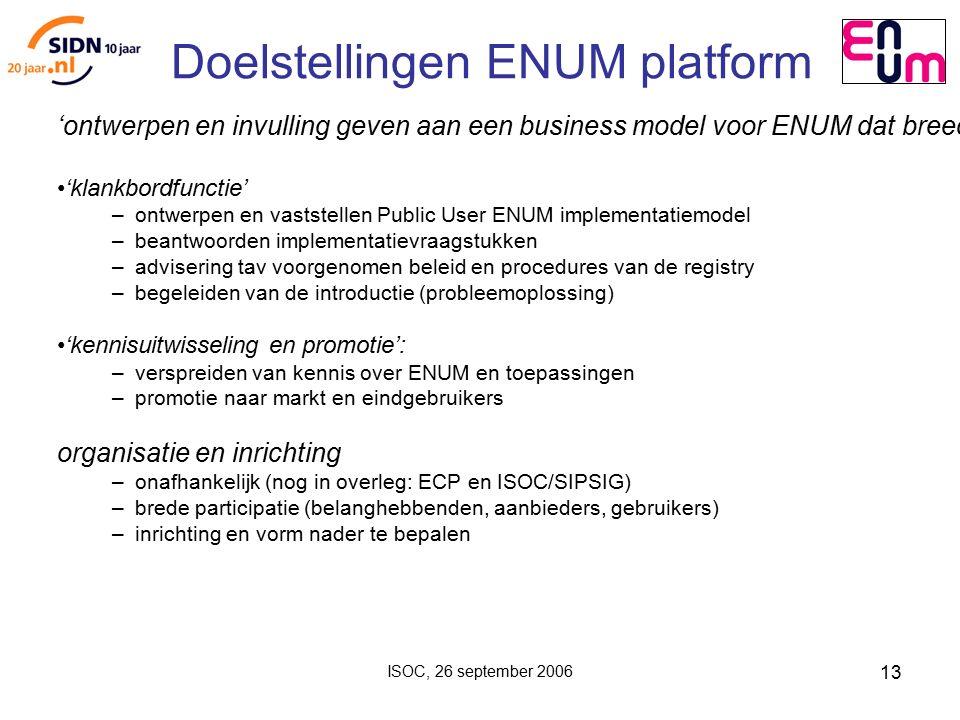 ISOC, 26 september 2006 13 Doelstellingen ENUM platform 'ontwerpen en invulling geven aan een business model voor ENUM dat breed gedragen wordt door belanghebbenden': 'klankbordfunctie' – ontwerpen en vaststellen Public User ENUM implementatiemodel – beantwoorden implementatievraagstukken – advisering tav voorgenomen beleid en procedures van de registry – begeleiden van de introductie (probleemoplossing) 'kennisuitwisseling en promotie': – verspreiden van kennis over ENUM en toepassingen – promotie naar markt en eindgebruikers organisatie en inrichting – onafhankelijk (nog in overleg: ECP en ISOC/SIPSIG) – brede participatie (belanghebbenden, aanbieders, gebruikers) – inrichting en vorm nader te bepalen